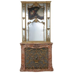 French 19th Century Louis XV St. Marble Mantel with Screen and Trumeau