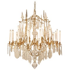 French 19th Century Louis XV Style Ormolu and Baccarat Crystal Chandelier