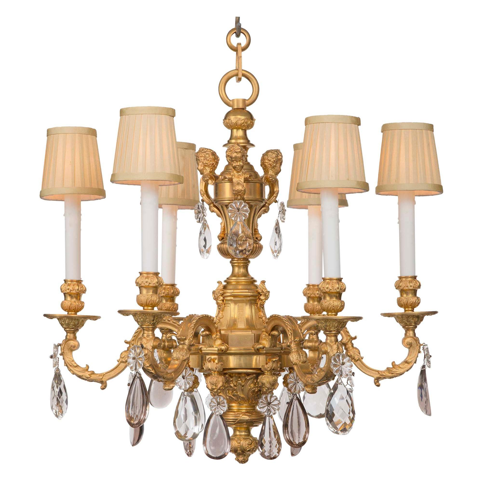 French 19th Century Louis XV St. Ormolu and Baccarat Crystal Six-Arm Chandelier