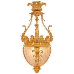 French 19th Century Louis XV St. Ormolu and Frosted Crystal Lantern