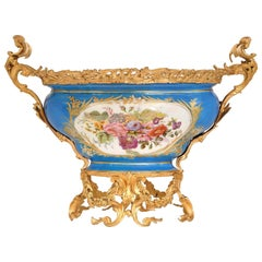 French 19th Century Louis XV Style Ormolu and Sèvres Porcelain Centerpiece