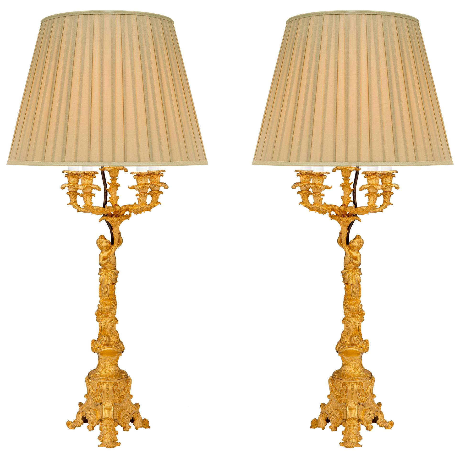 French 19th Century Louis XV St. Ormolu Candelabras Mounted into Lamps