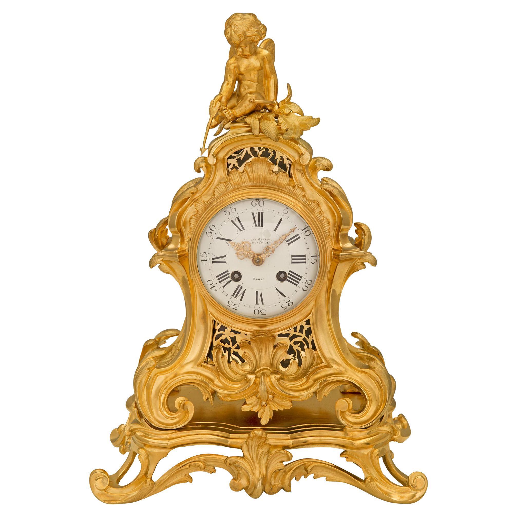 French 19th Century Louis XV St. Ormolu Clock