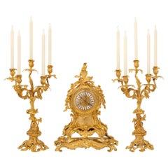 French 19th Century Louis XV St. Ormolu Signed Garniture Set