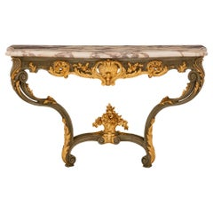 French 19th Century Louis XV St. Patinated Wood, Giltwood and Marble Console