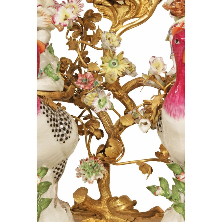 French 19th Century Louis XV Style Porcelain and Ormolu Clock For Sale 2