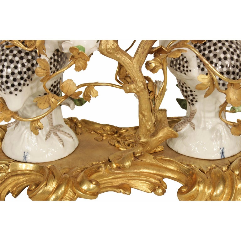 French 19th Century Louis XV Style Porcelain and Ormolu Clock For Sale 3