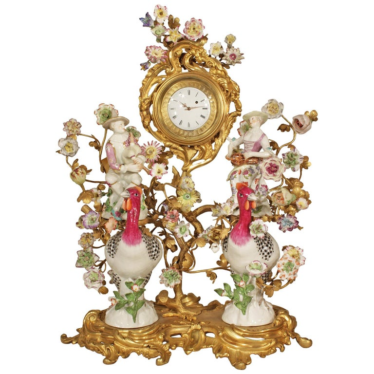 French 19th Century Louis XV Style Porcelain and Ormolu Clock For Sale
