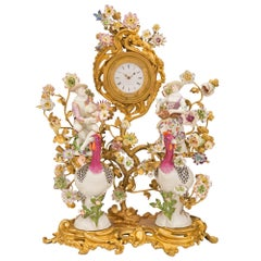 French 19th Century Louis XV St. Porcelain and Ormolu Clock, Signed Meissen