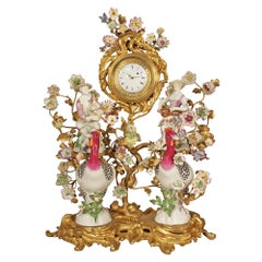 French 19th Century Louis XV St. Porcelain and Ormolu Meissen Clock