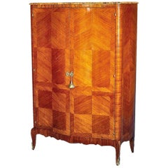 French 19th Century Louis XV Style Quarter Veneered Tulipwood Two Door Armoire