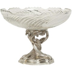 19th Century Louis XV Style Silvered Bronze and Baccarat Crystal Center Piece
