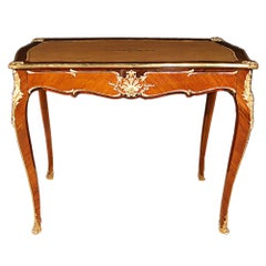 French 19th Century Louis XV Style Tulipwood and Kingwood One Drawer Desk