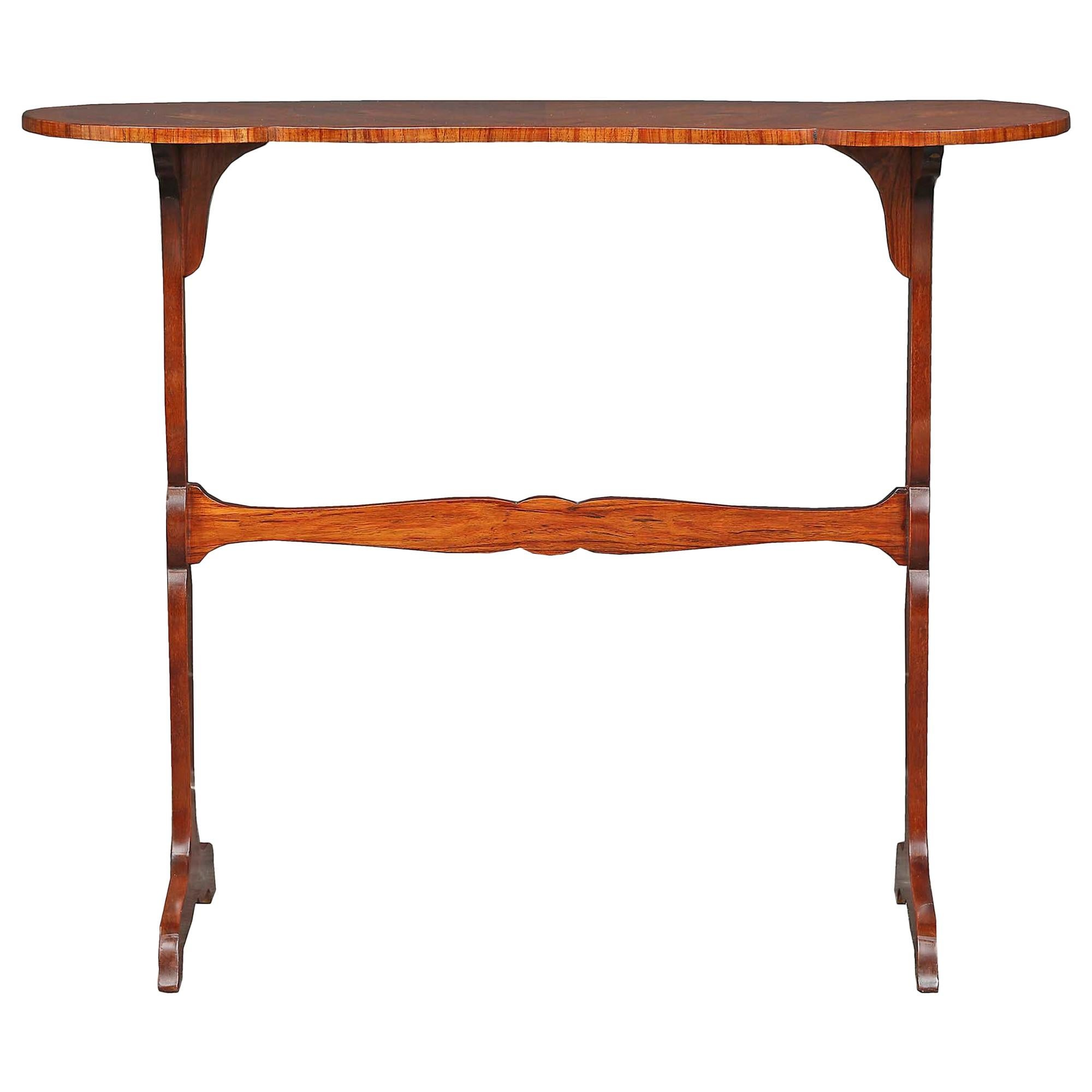French 19th Century Louis XV Style Tulipwood Kidney Shape Table