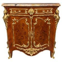 French 19th Century Louis XV Style Tulipwood Kingwood and Ormolu Cabinet