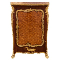 French 19th Century Louis XV St. Tulipwood, Mahogany, Ormolu and Marble Cabinet