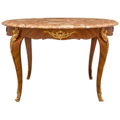 French 19th Century Louis XV St. Tulipwood, Ormolu and Marble Center Table