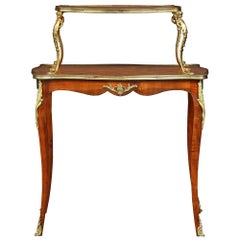 French 19th Century Louis XV Style Two-Tier Mahogany and Ormolu Serving Table