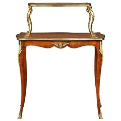 French 19th Century Louis XV Style Two-Tier Parquetry Serving Table