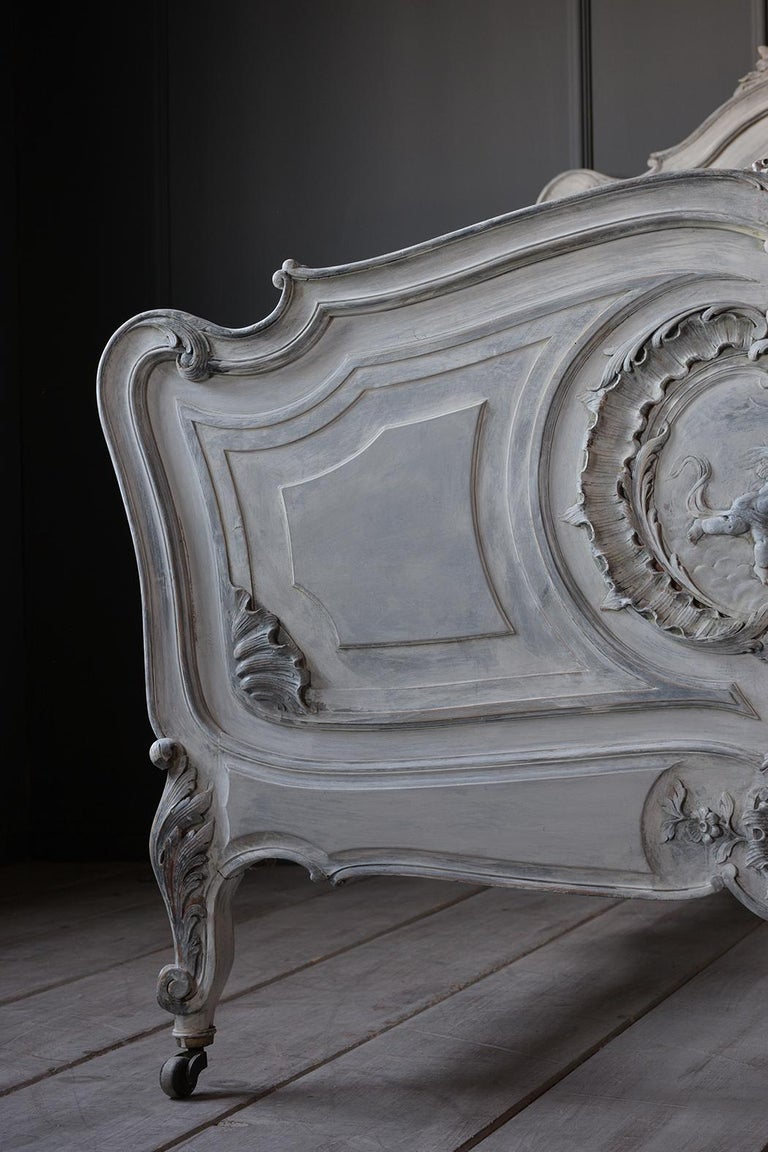 French 19th Century Carved Painted Louis XV Style Bed Frame For Sale 5