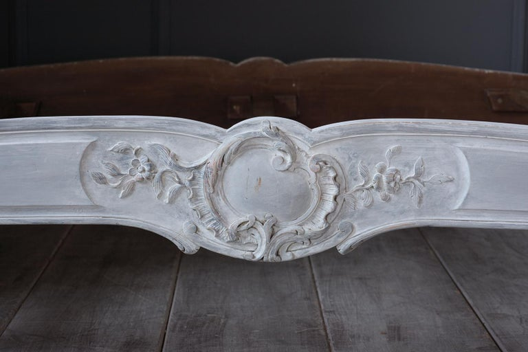 French 19th Century Carved Painted Louis XV Style Bed Frame In Good Condition For Sale In Los Angeles, CA