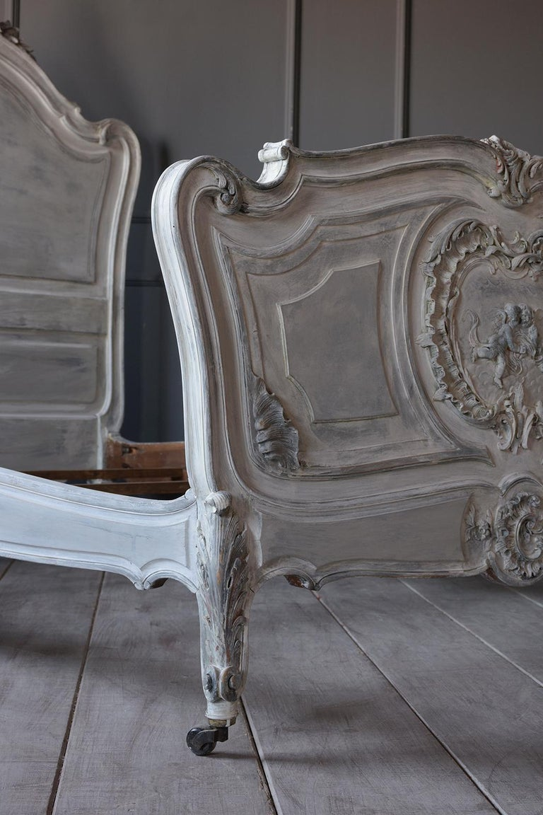 Brass French 19th Century Carved Painted Louis XV Style Bed Frame For Sale