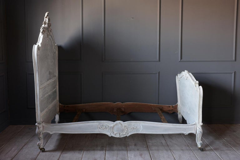 French 19th Century Carved Painted Louis XV Style Bed Frame For Sale 2