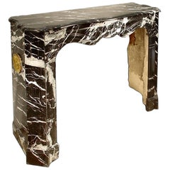 French 19th Century Louis XV Style Black and White Marble Mantel