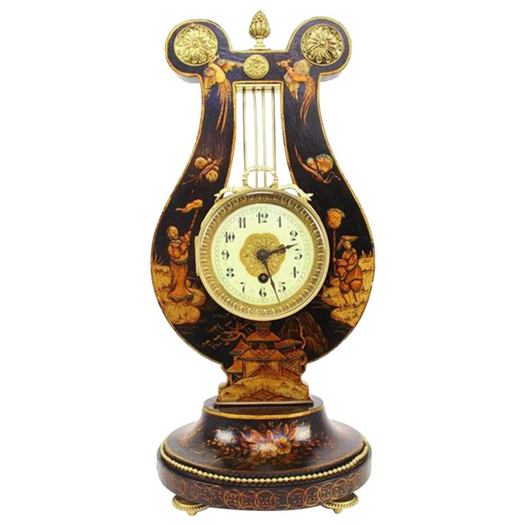 French 19th Century Louis XV Style Black Chinoiserie Lyre Clock by Guilmet Paris For Sale