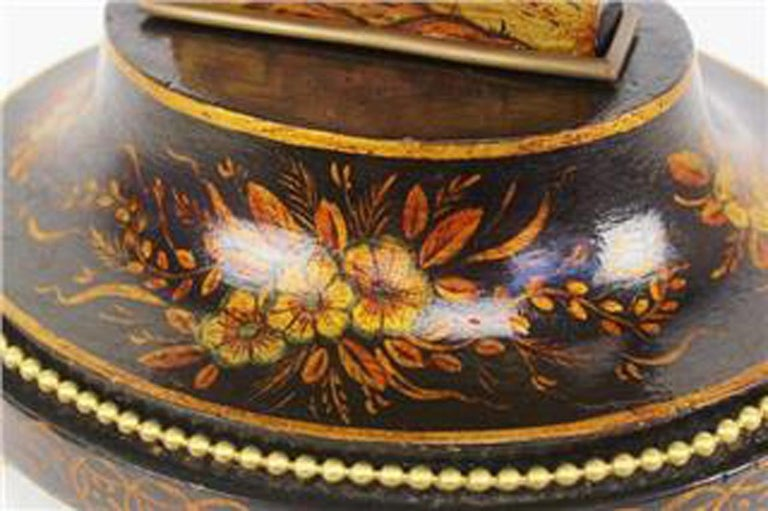Hand-Painted French 19th Century Louis XV Style Black Chinoiserie Lyre Clock by Guilmet Paris For Sale