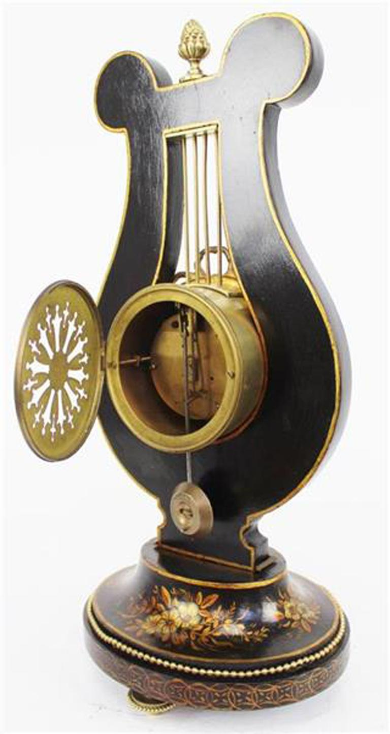 Wood French 19th Century Louis XV Style Black Chinoiserie Lyre Clock by Guilmet Paris For Sale