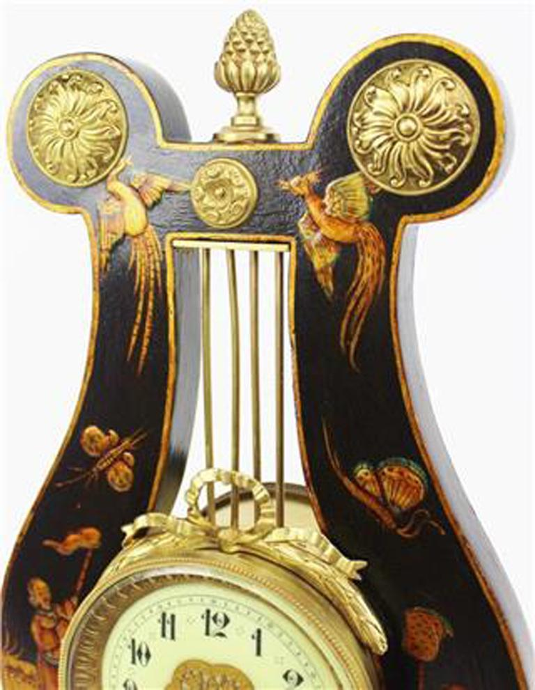 French 19th Century Louis XV Style Black Chinoiserie Lyre Clock by Guilmet Paris For Sale 1
