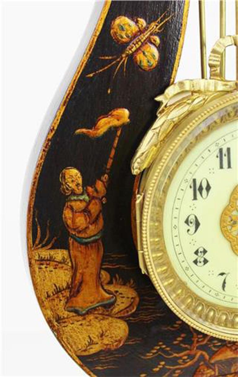 French 19th Century Louis XV Style Black Chinoiserie Lyre Clock by Guilmet Paris For Sale 3