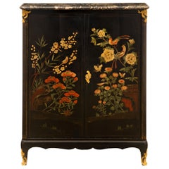 French 19th Century Louis XV Style Black Lacquered, Ormolu and Cabinet