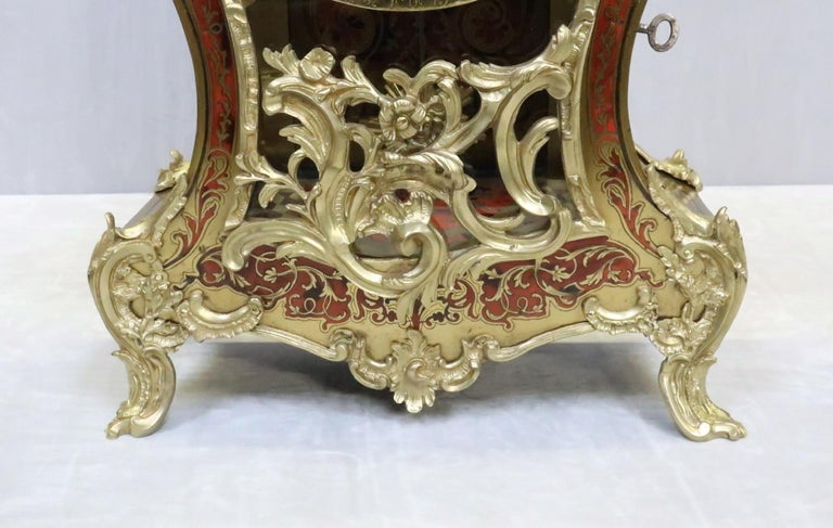 Brass French 19th Century Louis XV Style Boulle Bracket Clock For Sale