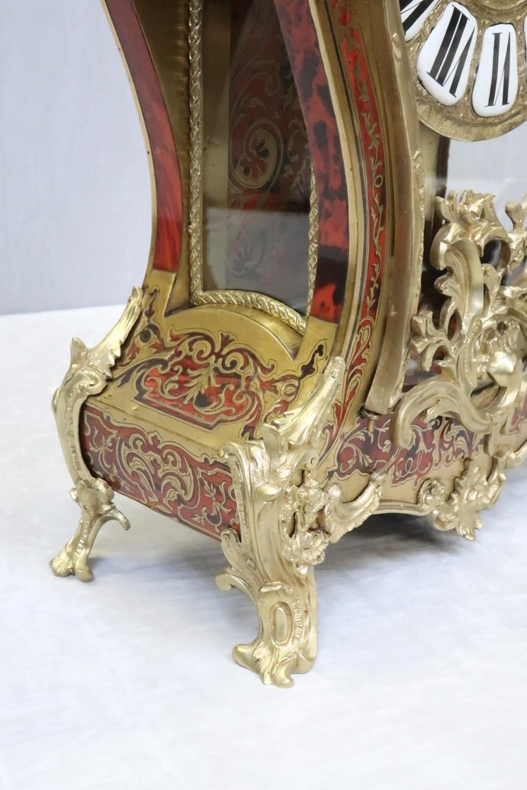 French 19th Century Louis XV Style Boulle Bracket Clock For Sale 3