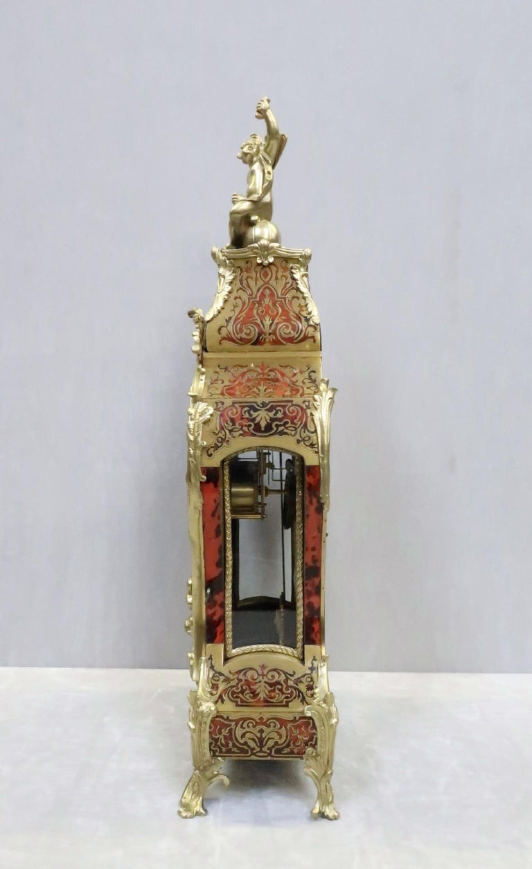 French 19th Century Louis XV Style Boulle Bracket Clock For Sale 4