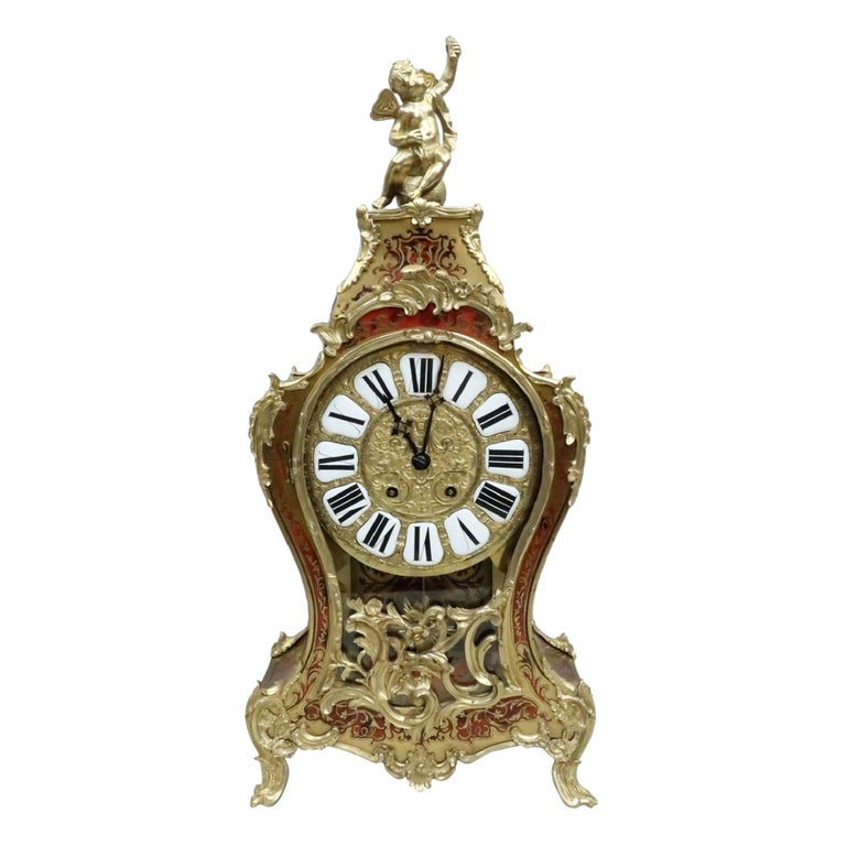 French 19th Century Louis XV Style Boulle Bracket Clock For Sale
