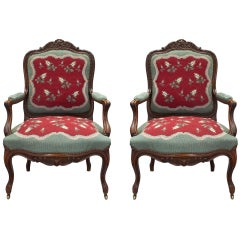 French 19th Century Louis XV Style Carved Armchairs