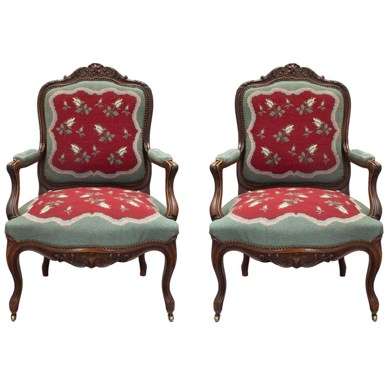 French 19th Century Louis XV Style Carved Armchairs For Sale