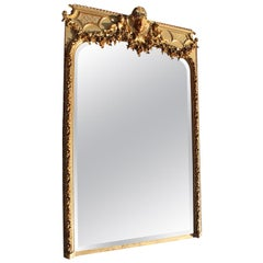 French 19th Century Louis XV Style Carved Giltwood & Gesso Trumeau Cherub Mirror
