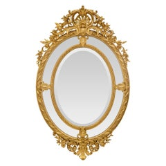 French 19th Century Louis XV Style Double Framed Oval Giltwood Mirror