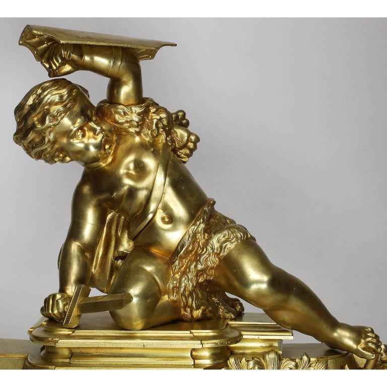French 19th Century Louis XV Style Gilt Bronze Chenet Set with Playful Children For Sale 1