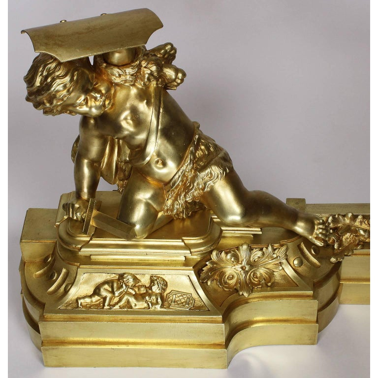 French 19th Century Louis XV Style Gilt Bronze Chenet Set with Playful Children For Sale 3
