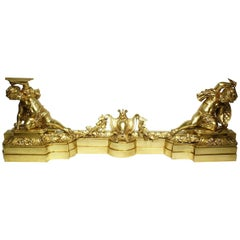 French 19th Century Louis XV Style Gilt Bronze Chenet Set with Playful Children