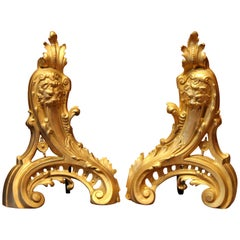 French 19th Century Louis XV Style Gilt Bronze Lions Head Fireplace Andirons