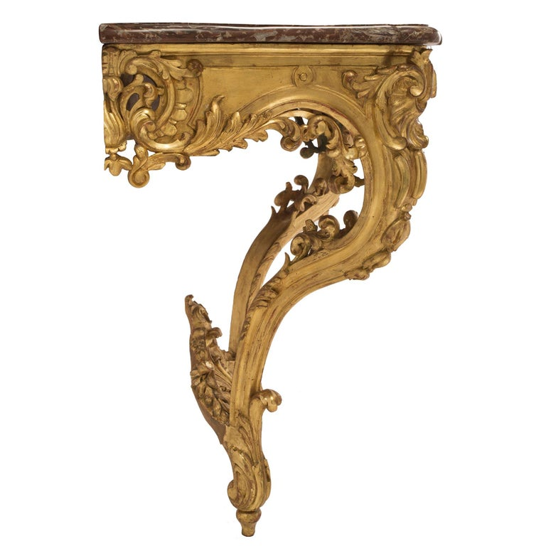 French 19th Century Louis XV Style Giltwood and Marble Wall Mounted Console In Excellent Condition For Sale In West Palm Beach, FL