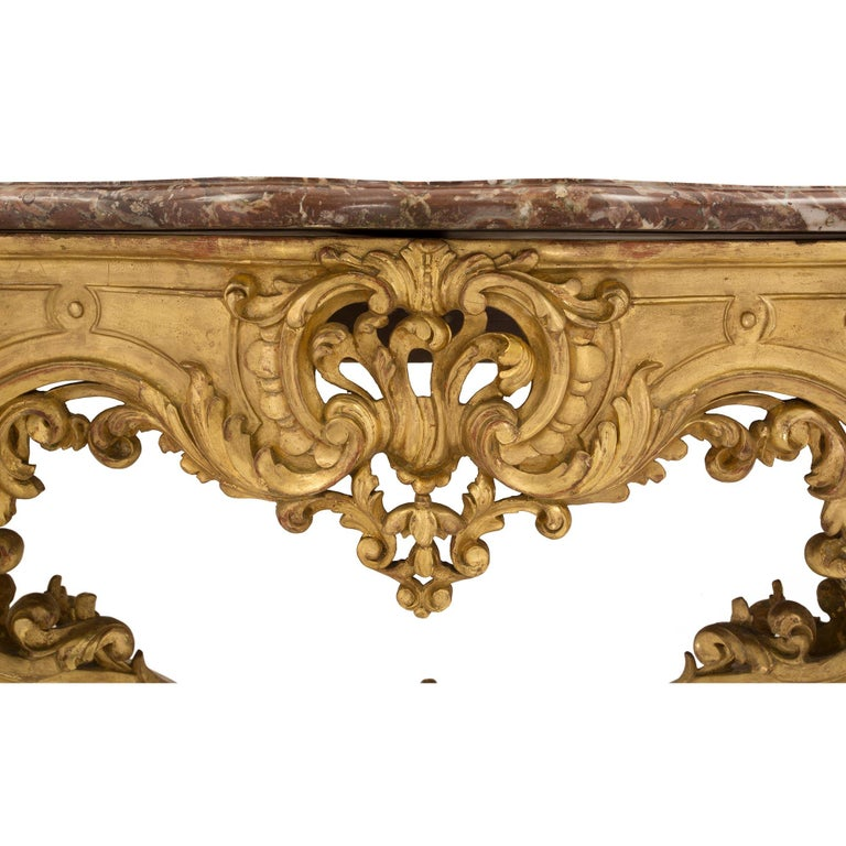 French 19th Century Louis XV Style Giltwood and Marble Wall Mounted Console For Sale 1