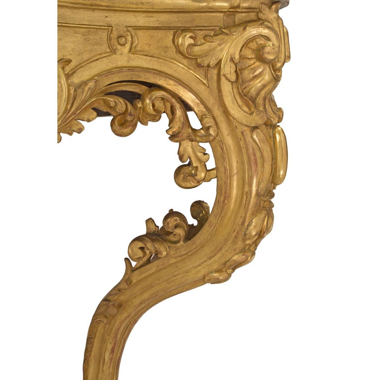 French 19th Century Louis XV Style Giltwood and Marble Wall Mounted Console For Sale 3