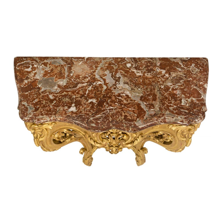 French 19th Century Louis XV Style Giltwood and Marble Wall Mounted Console For Sale 6